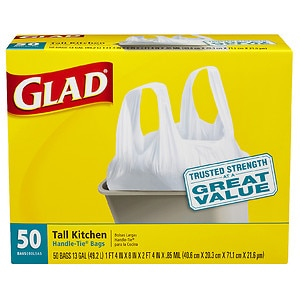 Glad Tall Kitchen Handle-Tie Trash Bags,  White,  13 Gallon,  50 ea
