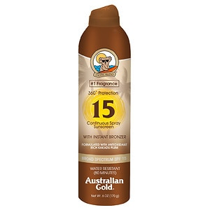 Australian Gold Continuous Spray with Instant Bronzer, SPF 15- 6 fl oz