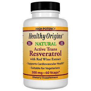 Healthy Origins Resveratrol 300mg, Vegetable Capsules, 60 ea