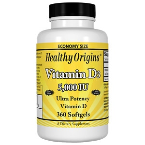 Healthy Origins Vitamin D3, 5000 IU, Softgels, 360 ea