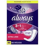 Always Xtra Protection with Odor-Lock Daily Liners, Extra Long, 2pk- 60 ea