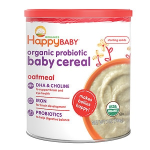 Happy Baby Organic Probiotic Baby Cereal: Oatmeal- 7 oz