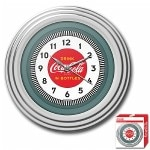 Trademark Global Coca-Cola Clock, 1930's Style, Chrome Finish, 11.75 inches