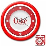 Trademark Global Coca-Cola Clock, 1970's Style, White Neon, 12 Inches- 1 ea