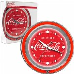 Trademark Global Coca Cola Neon Clock - Delicious Refreshing - Two Neon Rings- 1 ea