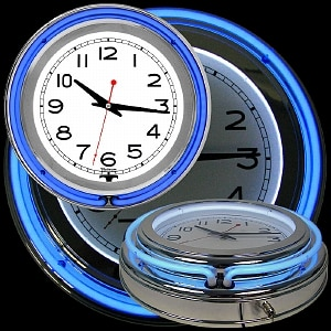 Trademark Global 14 Inch Double Ring Neon Clock Blue Outer White Inner- 1 ea