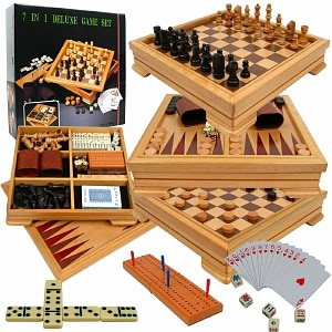 Trademark Games Deluxe 7-in-1 Game Set - Chess - Backgammon etc- 1 ea