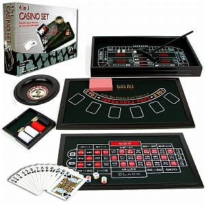 Trademark Poker 4 in 1 Casino Game Table Roulette, Craps, Poker, BlackJack, 1 ea