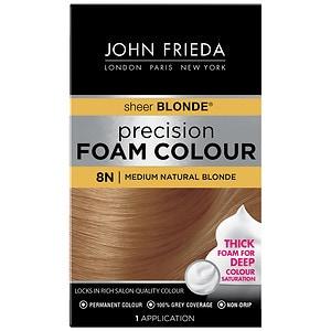 John Frieda Permanent Precision Foam Colour, 8N Sheer Blond Medium Natural Blonde