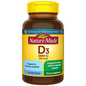 Nature Made Vitamin D3 2000 IU, Liquid Softgels- 250 ea