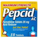 Pepcid AC Acid Reducer, Maximum Strength, Tablets- 50 ea