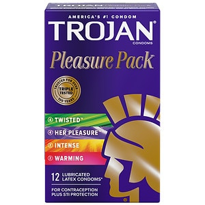 Trojan Lubricated Premium Latex Condoms, Pleasure Pack- 12 ea