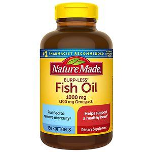 Nature Made Burp-Less Fish Oil, 1000mg, Liquid Softgels, 150 ea