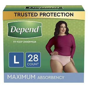 Depend Incontinence Underwear for Women, Maximum Absorbency, Soft Peach, Large- 28 ea