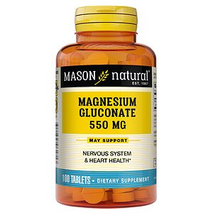Mason Natural Magnesium Gluconate, 550mg, Tablets- 100 ea