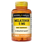 Mason Natural Melatonin, 5mg with Vitamin B-6, Tablets- 60 ea