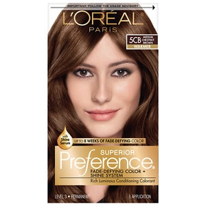 L'Oreal Superior Preference Fade Defying Color & Shine System, Permanent, Medium Chestnut Brown 5CB