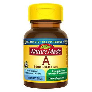 Nature Made Vitamin A, 8000 IU, Liquid Softgels- 100 ea