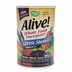 Nature's Way Alive! Pea Protein Whole Food Energizer, Ultra-Shake, Vanilla- 34 oz