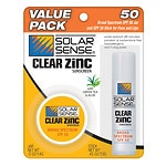 Solar Sense Clear Zinc Face Jar & Stick Sunscreen SPF 50, Value Pack, Green Tea & Aloe