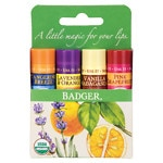 Badger Classic Lip Balm Sticks, Tangerine, Lavender Orange,