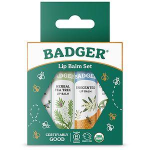 Badger Classic Lip Balm Sticks, Tangerine, Lavender Orange, Vanilla, Grapefruit