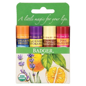Badger Classic Lip Balm Sticks, Tangerine, Lavender Orange, Vanilla, Grapefruit- .15 oz