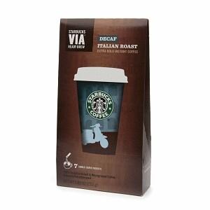 Starbucks Via Instant Coffee Packets, Decaf Italian Roast- 7 ea
