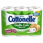 Cottonelle Gentle Care Bath Tissue with Aloe & Vitamin E, Double Rolls