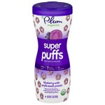 Plum Organics Baby Super Puffs Fruit & Veggie Grain Puffs, Purples - Blueberry & Purple Sweet Potato- 1.5 oz