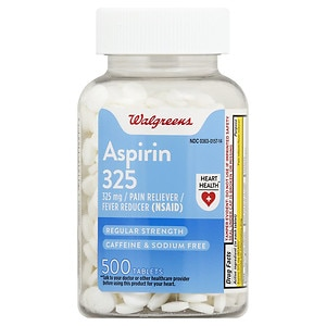 Walgreens Aspirin 325 mg Pain Reliever/Fever Reducer Tablets- 500 ea