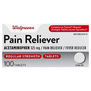 Walgreens Regular Strength Pain Reliever Acetaminophen Tablets, 100 ea
