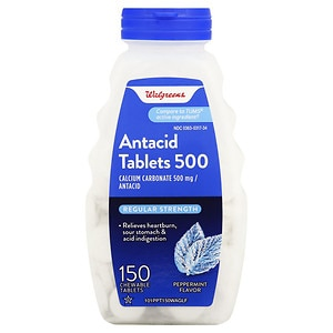 Walgreens Regular Strength Antacid/Calcium Supplement Chewable Tablets, Peppermint