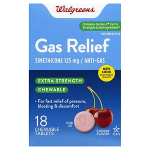 Walgreens Extra Strength Gas Relief Chewable Tablets, Cherry Creme- 18 ea