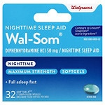 Walgreens Wal-Som Nighttime Sleep Aid Softgels- 32 ea