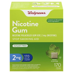 Walgreens Nicotine Gum, 2 mg, Mint, 170 ea