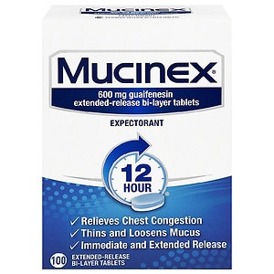 Mucinex Expectorant, 600mg Extended-Release Bi-Layer Tablets- 100 ea
