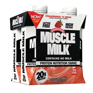 CytoSport Muscle Milk Protein Shake, 11 oz Cartons, 4 pk, Strawberries N' Cream, 11 oz