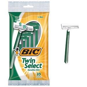 BIC Twin Select Sensitive for Men, Disposable Shaver- 10 ea