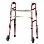 Nova Folding Walker with 5in. Wheels, Pink with Floral Print