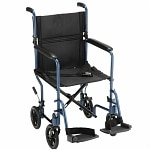 Nova Transport Chair with S/A Footrests, 19 inch, Blue