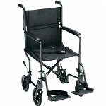 Nova Transport Chair With Swing Away Footrests, 19 inch, Black- 1 ea