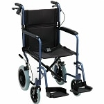 Nova Transport Chair Lightweight with Hand Brakes and S/A Footrests, 20 inch, Blue