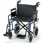 Nova Transport Chair with Hand Brakes and S/A Footrests, 22 inch, Blue