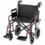 Nova Transport Chair with Hand Brakes and S/A Footrests, 22 inch,