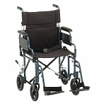 Nova Transport Chair Lightweight with Detachable Footrests, 19 inch, Blue- 1 ea