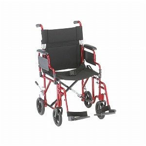Nova Transport Chair Lightweight with Detachable Footrests, 19 inch, Red