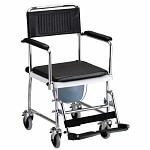 Nova Drop Arm Commode Transport Chair with Wheels