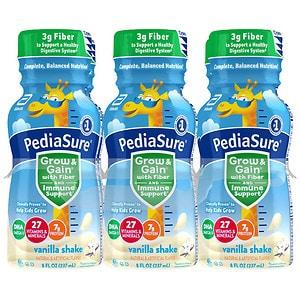 PediaSure Complete, Balanced Nutrition Shake with Fiber, 8 fl oz Bottles, Vanilla- 6 ea