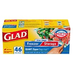 Glad Food Storage Bags, 2-in-1 Zipper, Quart